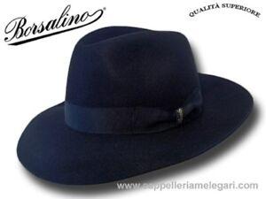 Cappello-Borsalino-Fedora-Qualita-Superiore-ala-7-5-cm-blu