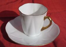 Shelley Fine Bone China Demitasse Cup & Saucer Regency Pattern White w/Gold