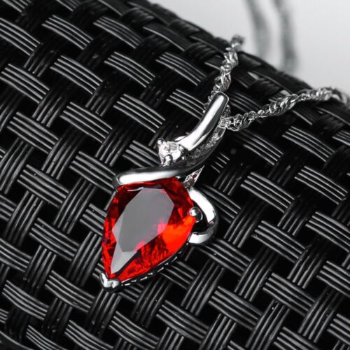 Women/'s 925 Silver Red Clear Purple CZ Crystal Water Drop Pendant Necklace Gift