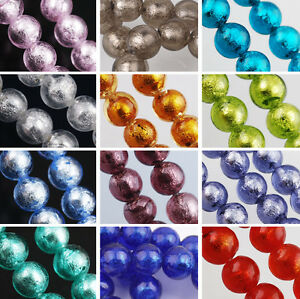 15pcs-10mm-Silver-Foil-inside-Round-Lampwork-Glass-Loose-Spacer-Beads-Jewelry
