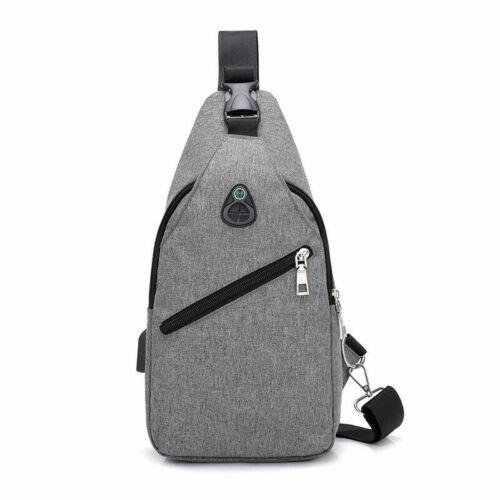 Men/'s Durable Messenger Crossbody Chest Bag Single Side ShoulderBag/&USB Charging