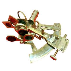 4-034-Brass-Sextant-Nautical-Vintage-Telescope-Pirate-Navigation-Hiking-Campin-mn1