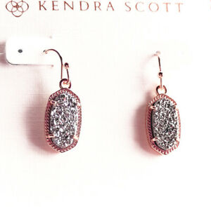 Kendra Scott Lee Platinum Drusy Rose Gold Earrings