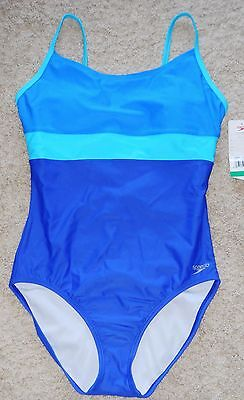 Speedo Swimsuit Blue One Piece Color Block 10 12 18 Tank Modest Swimwear