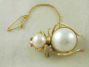 14CT-GOLD-PEARL-amp-RUBY-SPIDER-BROOCH-11-6-GRAMS-coee