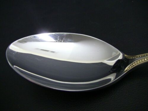 Towle BEADED ANTIQUE Gold Accent Satin Serving Spoon s Germany 18//8 Stainless