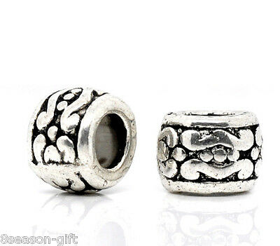50Pcs Silver Tone Carrved Spacer Beads 7x5mm