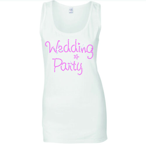 MARRY ME WEDDING HEN NIGHT PINK CRYSTAL RHINESTONE VESTS TANK TOP  all sizes