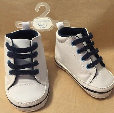 Gerber SOFT White navy lace up All-Star Baby High Tops Size 1 0-3 Months New
