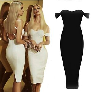 Off Shoulder Black White Red Nude Bodycon Bandage Evening Party ... 2d2809ccc