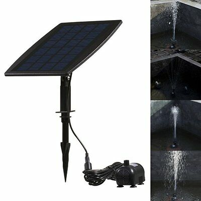 Black Solar Power Water Pump Panel Kit Fountain Pool Garden Submersible Watering