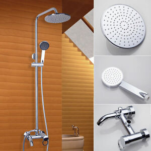 8 Shower Faucet Set Chrome Brass Wall Mounted Bath Tub Mixer Tap