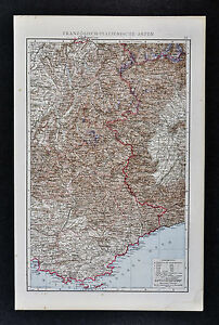 1887 Andrees Map France Italy Alps French Riviera Nice