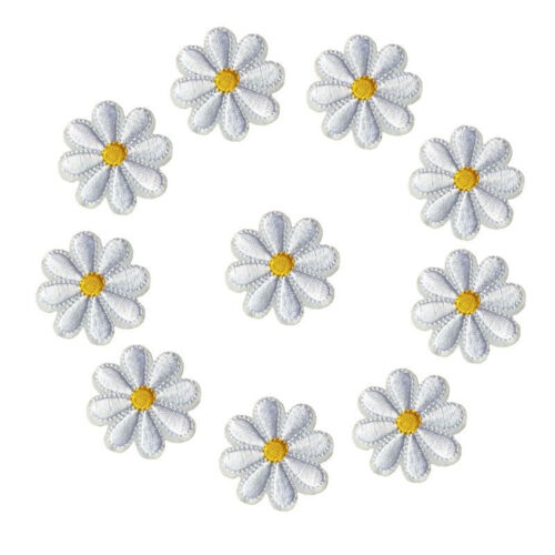 10pcs Embroidered Sew Daisy Flower Applique Clothing Iron On Patches Badges DIY