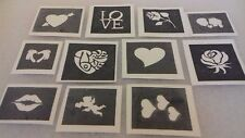 30 X MINI VALENTINE piccole Stencil per scintillio tatuaggi/Airbrush Amore Cuore
