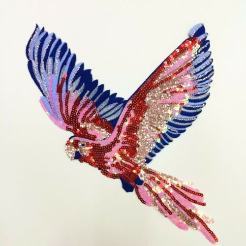 Retro Sequins Parrot Embroidered Applique Sew on Motif Patch Clothing Decoration