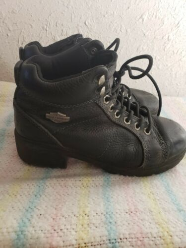 Harley Davidson chunky boots shoes black leather b