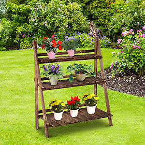 Image Is Loading Outsunny Flower Pot Stand 3 Tier Shelves Garden