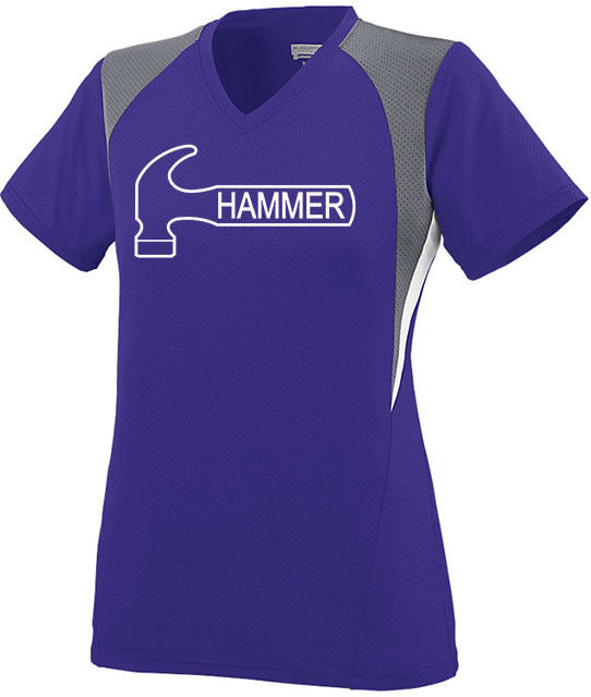 Hammer Women's Ambition Performance Crew Bowling Jersey Shirt Purple