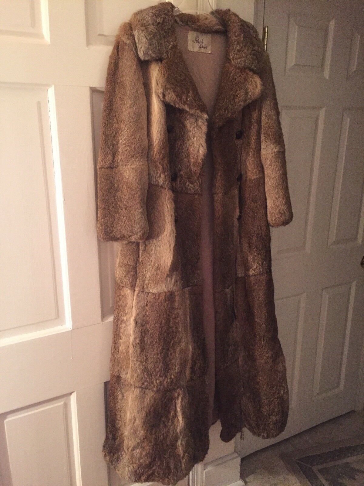 Real Fur 57 Inches In length (4ft 9 Inches) Brown Women Winter Coat Vintage