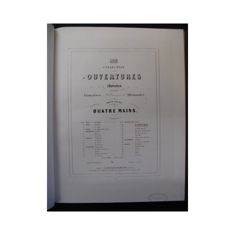MENDELSSOHN MENDELSSOHN MENDELSSOHN Ouvertures Piano 4 mains ca1850 partition sheet music score 72c00a