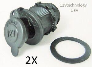 Two (2X) Cigarette Lighter Socket, Panel Outlet 12V Marine Plug Jack Motorcycle