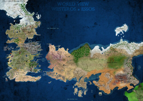 POSTER A4 PLASTIFIE-LAMINATED * GAMES OF THRONES WESTEROS MAP.3 1 FREE//1 GRATUIT