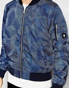 18782888e Details about BNWT G-Star Jacket Attacc Bomber All Over Dot Camo Print in  Sapphire Blue XL
