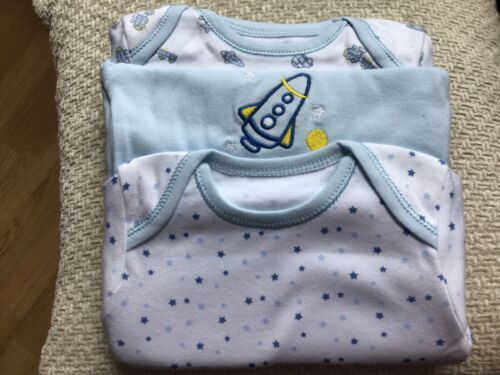 Trains and Stars 3 Pack 3-6 Months Blue Short Sleeve Bodysuits With Rockets