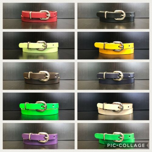 11 Colours Ladies Skinny Thin Dress Fashion Colourful Real Leather Belt Size S//M