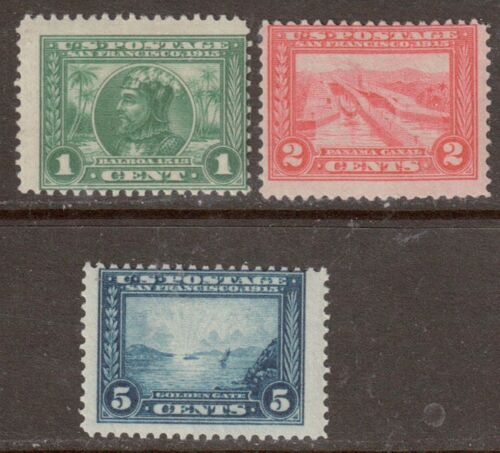 Scott #39799 Mint Singles, 1,2 & 5 Cent, 1913 PanamaPacific Expo. Perf. 12