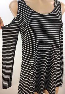 c4b4ae90f4cad7 Ultra Flirt Juniors  Cold-shoulder Striped Rayon Spandex Knit Top ...