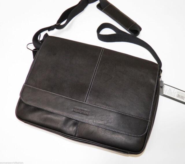 Kenneth Cole Briefcase Leather Risky Business Messenger Bag Black 524545