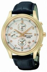 Seiko-Reloj-Hombre-Cronografo-snac80p1-Analogo-Alarma-Cronografo-Cuero-Negro