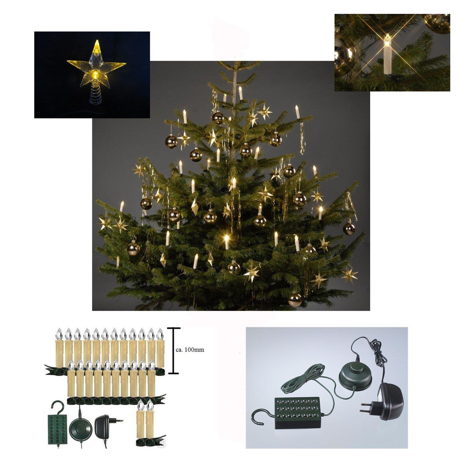 2 x 24 LED Innen Lichterkette Weihnachten Baumkerzen Stern Dekoration Tannenbaum