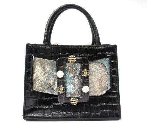 Black Boyy Karl Style Snakeskin Top Handle Bag
