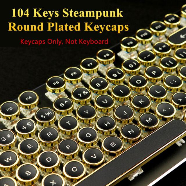 Steampunk Round Plated Typewriter Keycap OEM for Cherry MX Mechanical  Keyboard