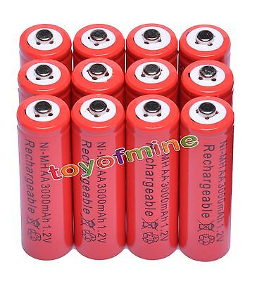 12x AA 3000mAh 2A 1.2 V Ni-MH Red Rechargeable Battery Cell for MP3 RC Toys
