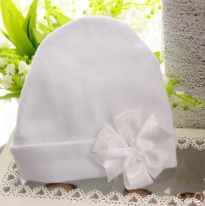 großhandel online neueste neue Kollektion Details zu MÜTZE Baby weiße Haube Weiß Mützchen mit Schleife Taufe festlich  Erstlingsmütze