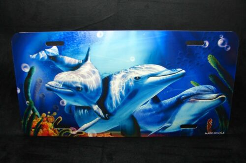 DOLPHINS METAL NOVELTY LICENSE PLATE TAG FOR CARS...