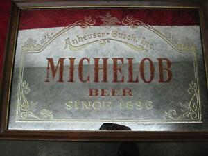 "Vintage 1987 Anheuser-Busch ""Michelob Beer Since 1896"" Framed Bar Mirror Sign"