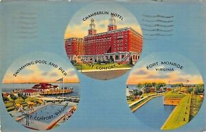 OLD-POINT-COMFORT-CHAMBERLIN-HOTEL-FORT-MONROE-SWIMMING-POOL-PIER-1941-POSTCARD