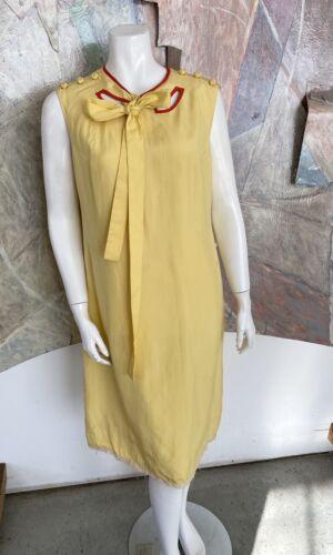Vintage Alice John Rogers Yellow Silk Pussybow Sh… - image 1