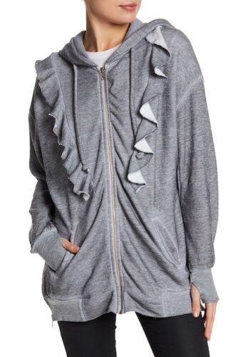 sweatshirts. zip Wildfox Minka Burnout Ruffle Hoodie grey loose baggy