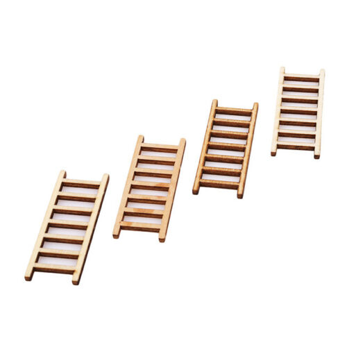 4Pcs Dollhouse Miniature Fairy Garden Wood Step Ladder Furniture Tools Decor KV