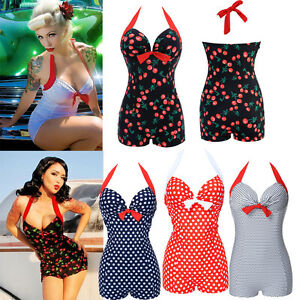 Plus-Size-Women-Vintage-One-Piece-Swimsuit-Retro-Bikini-Push-up-Bathing-Monokini