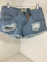Women's Boo-hoo Sharon Low Rise Distressed Micro Hot Shorts Blue Us 8