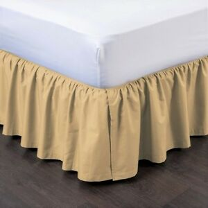 """1 GOLD SOLID DRESSING BED SKIRT PLEATED WITH OPEN CORNERS 14"""" INCH DROP NEW"""