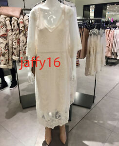 0a0ef315ca4c Image is loading ZARA-NEW-WOMAN-LONG-LACE-DRESS-OFF-WHITE-