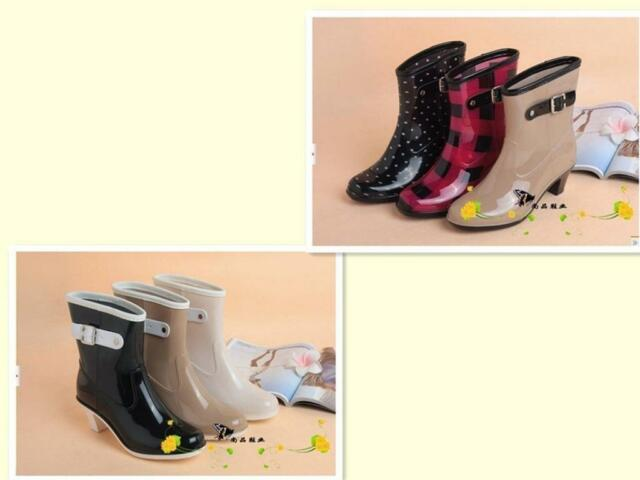 New Fashion Women's High-heeled Rain Boots Water Rubber Shoes